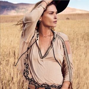 FREE PEOPLE Eden embroidered peasant top sand
